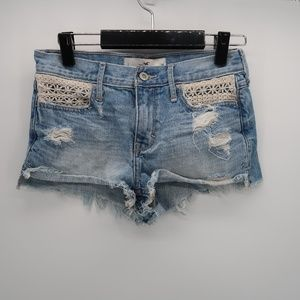 Hollister Embroidered Jean Shorts Distressed Sz 1